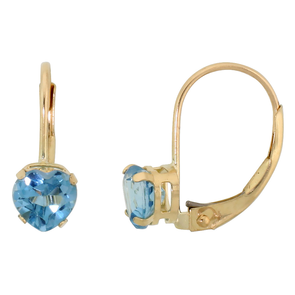 10k Yellow Gold Natural Blue Topaz Heart Leverback Earrings 5mm December Birthstone, 9/16 inch long