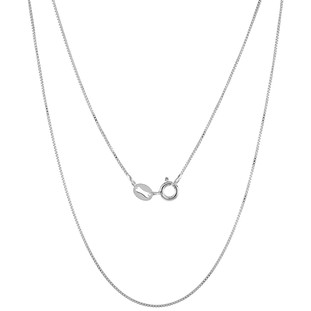 Very Fine Sterling Silver 0.7mm Box Chain Necklace Nickel Free Italy Sizes 16 - 18 inch