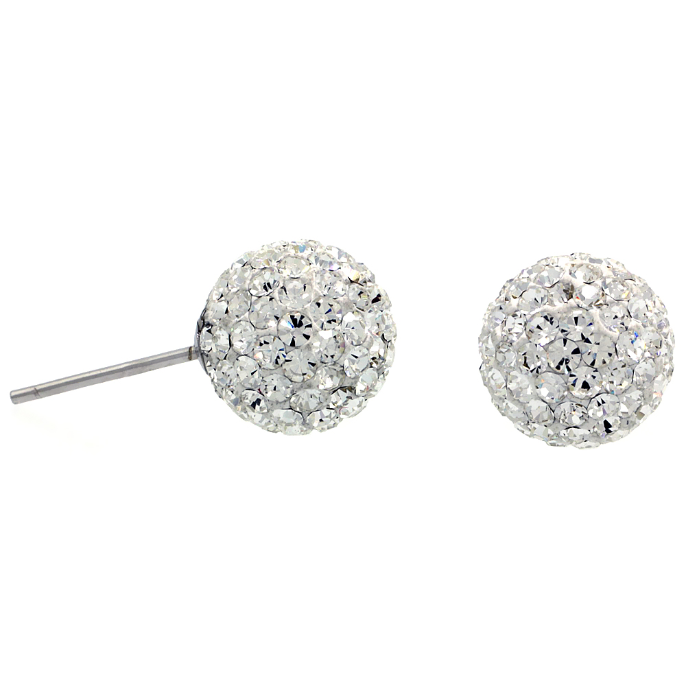 Sterling Silver 10mm Round White Disco Crystal Ball Stud Earrings