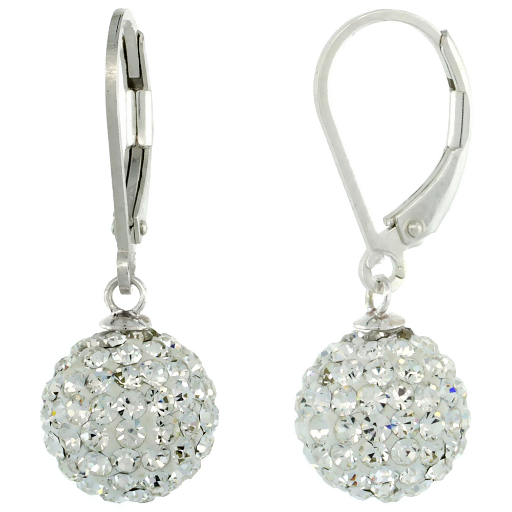 Sterling Silver 10mm Round White Disco Crystal Ball Lever Back Earrings, 1 1/8 in. (28 mm) tall