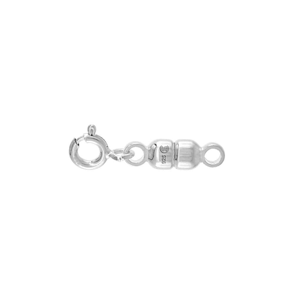 Sterling Silver 4 mm Magnetic Clasp Converter for Light Necklaces Italy, small size