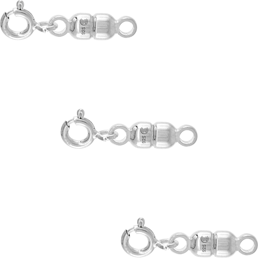 3 PACK Sterling Silver 4 mm Magnetic Clasp Converter for Light Necklaces Italy, small size