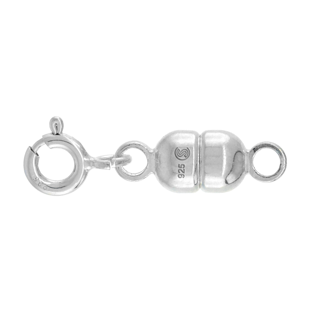 Sterling Silver 5 mm Magnetic Clasp Converter for Necklaces Italy, medium size