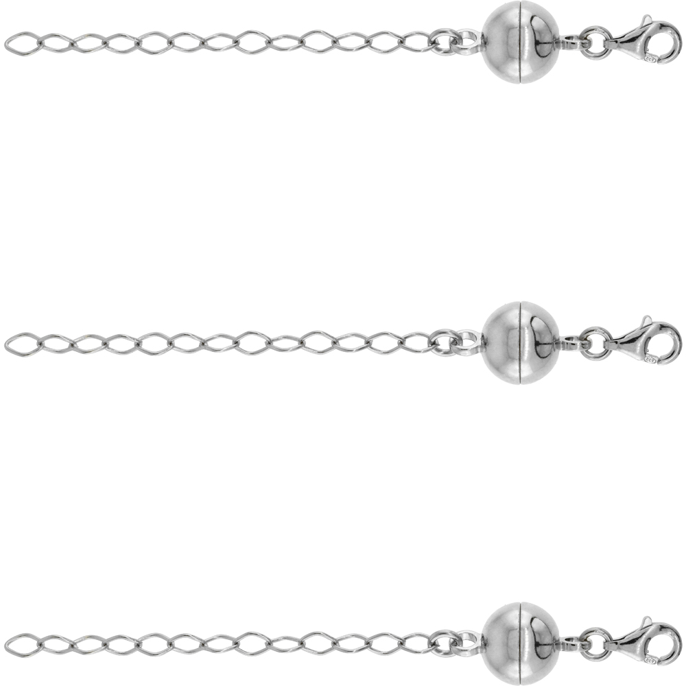 3 PACK Sterling Silver 10 mm Magnetic Ball Clasp Converter Rhodium Finish 2 inch Extention, Large