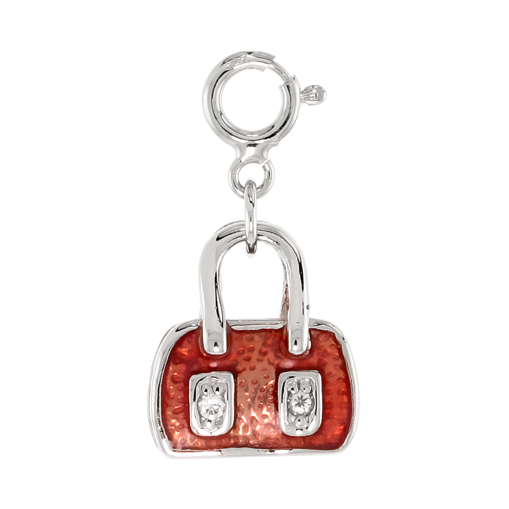 Sterling Silver Enamel Orange-Red Purse Charm with clasp for Bracelets Women CZ Accent 9/16 inch