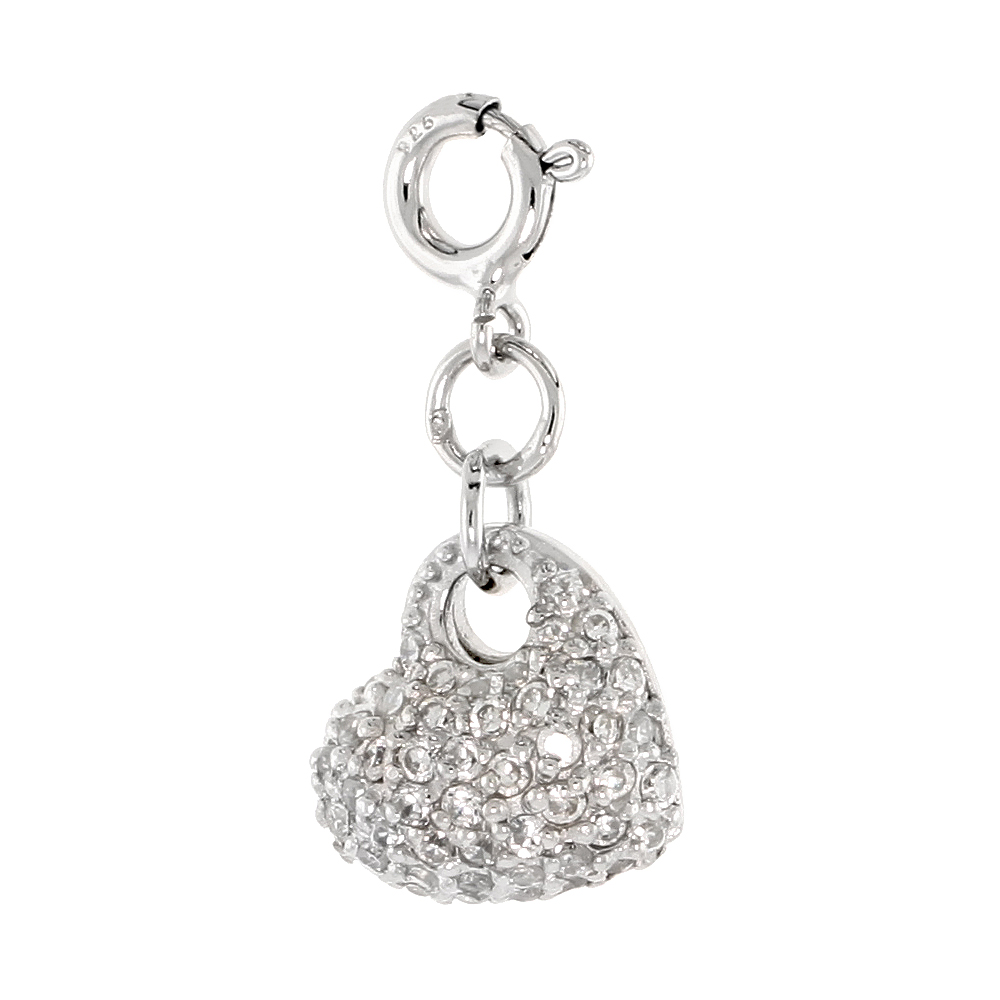 Sterling Silver Cubic Zirconia Jeweled Heart Charm with clasp for Bracelets Women 7/16 inch