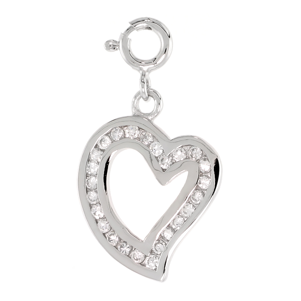 Sterling Silver Cubic Zirconia Jeweled Heart Charm with clasp for Bracelets Women 13/16 inch
