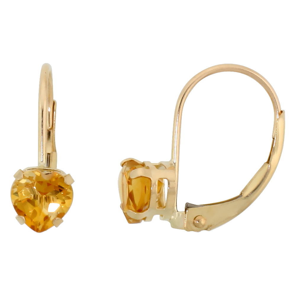 10k Yellow Gold Natural Citrine Heart Leverback Earrings 5mm November Birthstone, 9/16 inch long