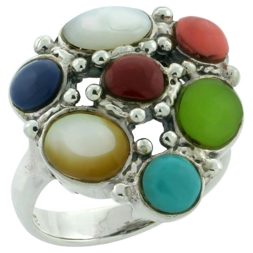 Sterling Silver Multi Color Cocktail Ring Southwest Design Synthetic Stones 1 inch,