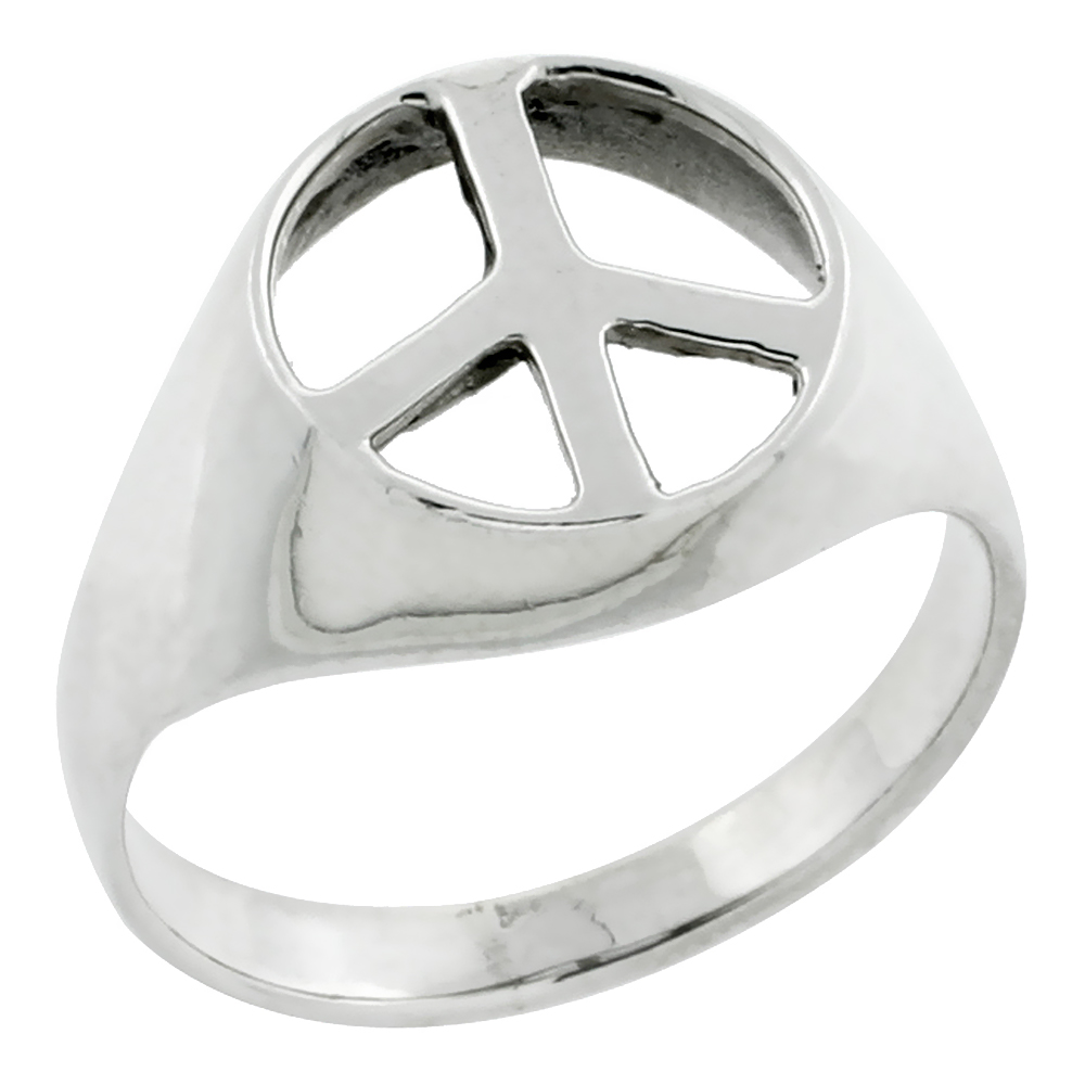 "Sterling Silver 1/2"" (13mm) Peace Sign Ring"