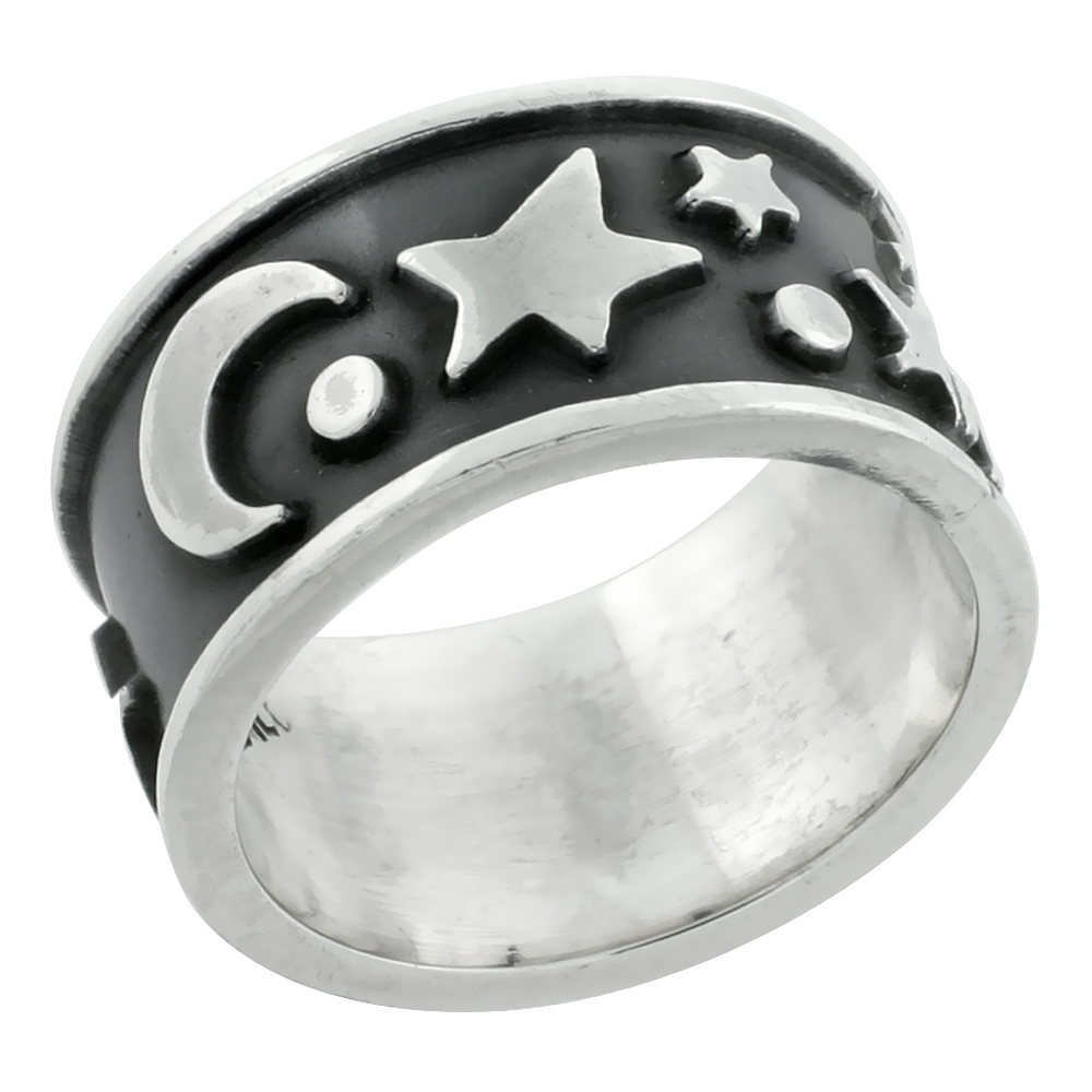 Sterling Silver Moon & Stars Ring 7/16 inch wide, sizes 9 - 13