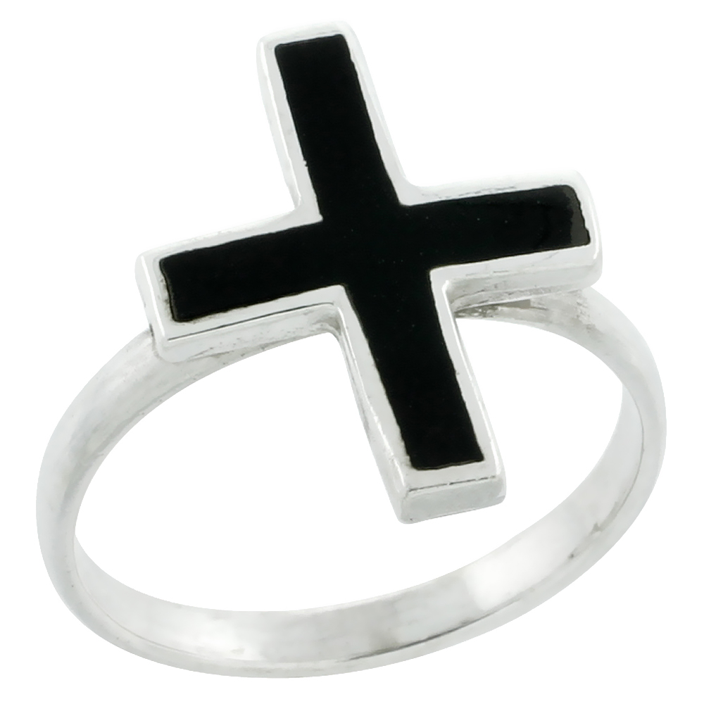Sterling Silver Black Enamel Cross Ring 3/4 inch wide,