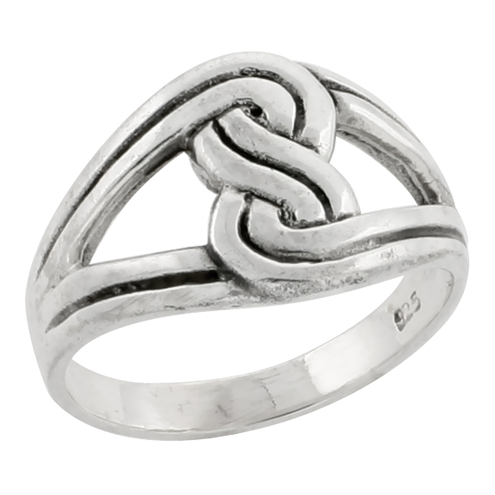 "Sterling Silver 1/2"" (13mm) Love Knot Ring"