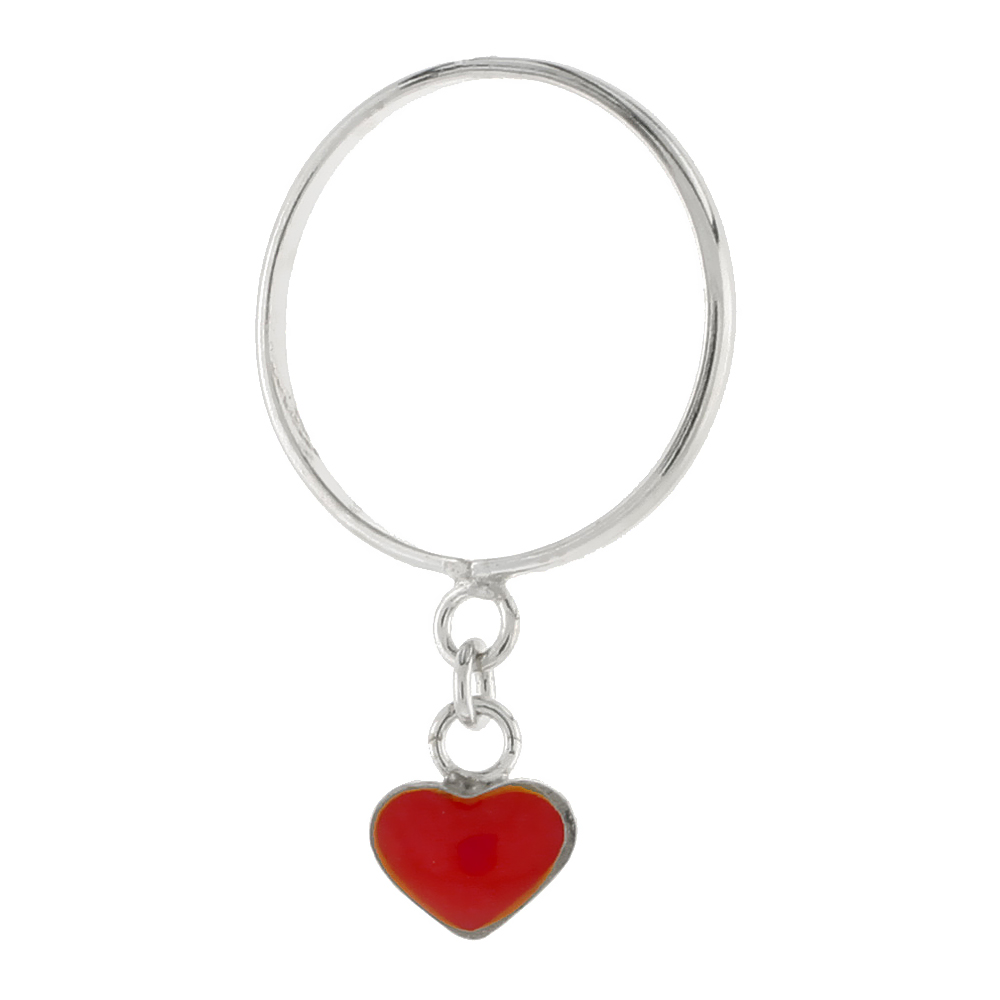 Sterling Silver Ring Tiny Heart in Red Enamel, 1/16 inch