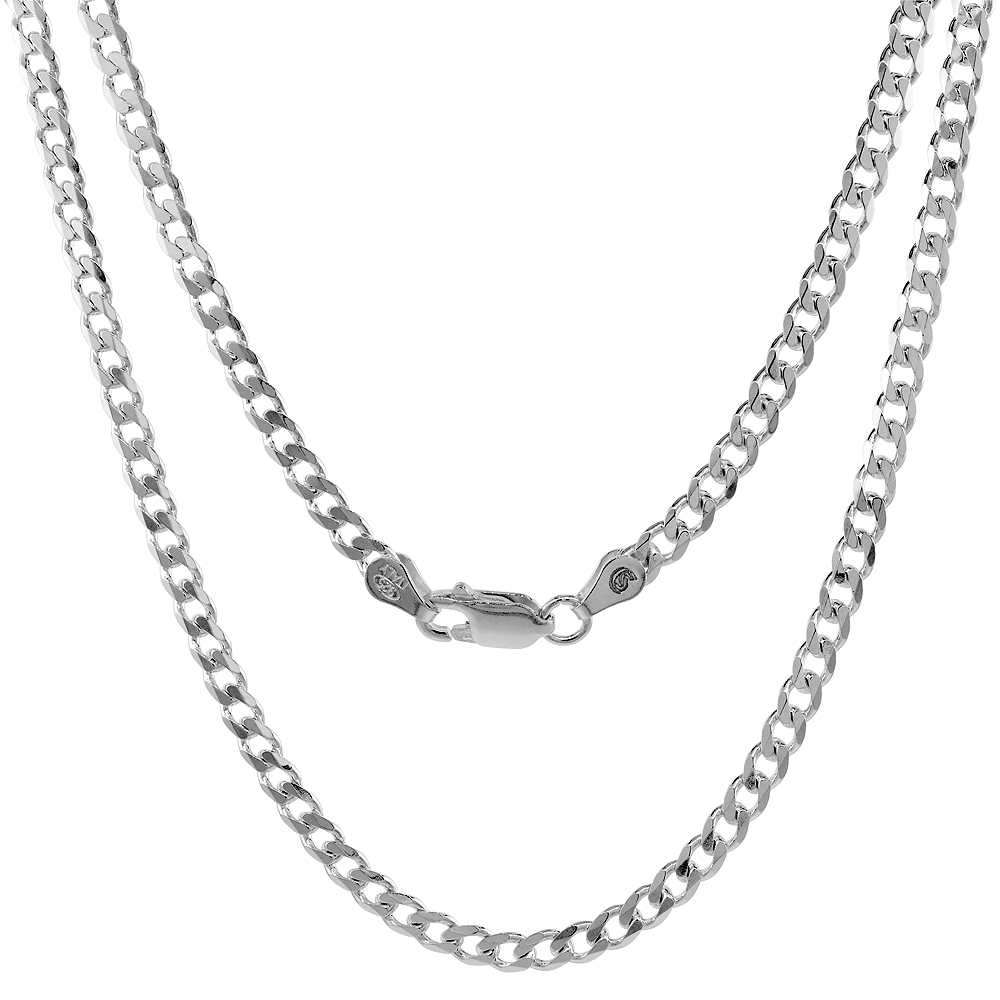 Sterling Silver Curb Anklet 1.3mm - 4.5mm Beveled Edges Nickel Free Italy Sizes 9 - 10 inch