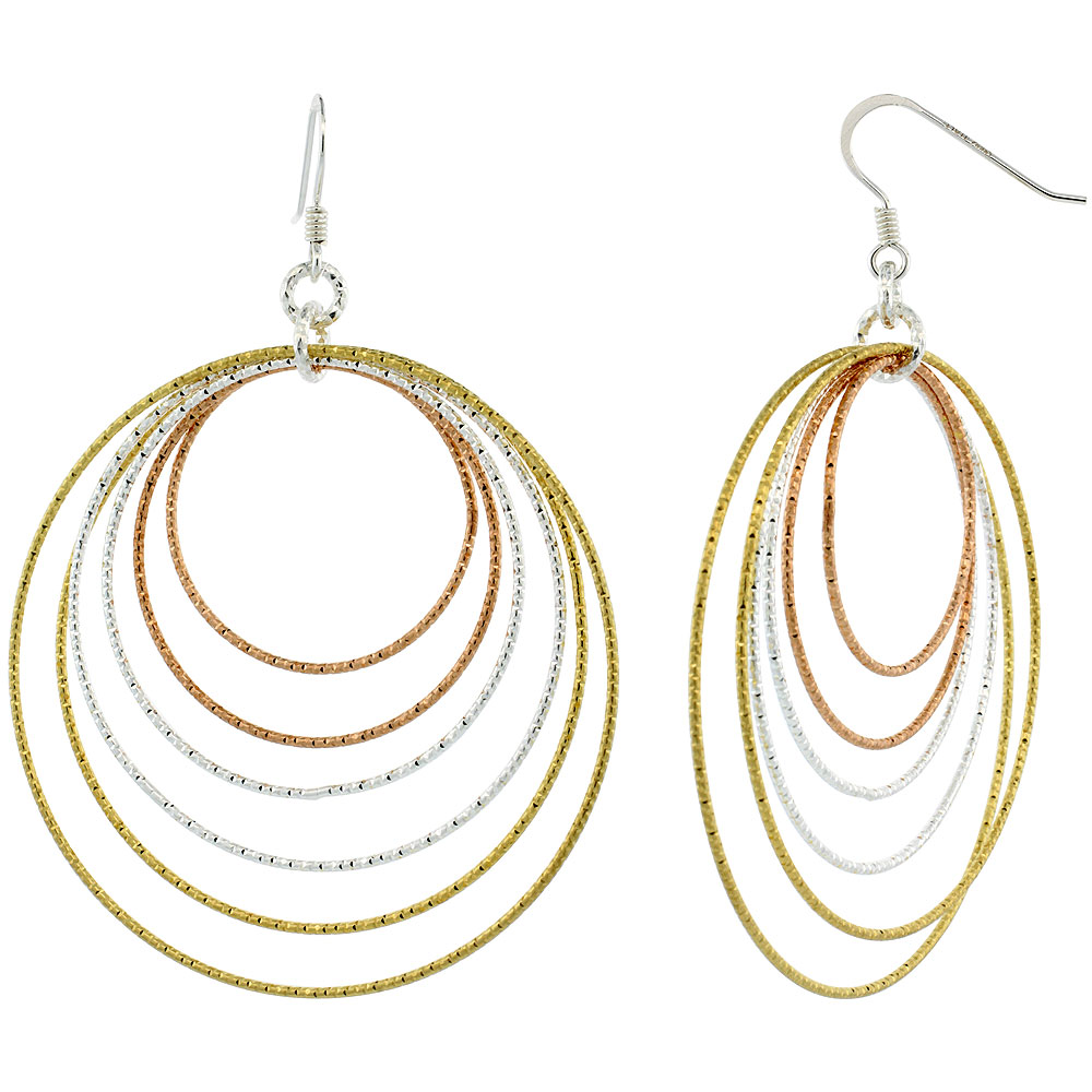 Sterling Silver Tri-Color Diamond Cut Tubing Dangling Circles Earrings, 2-3/4 in. tall
