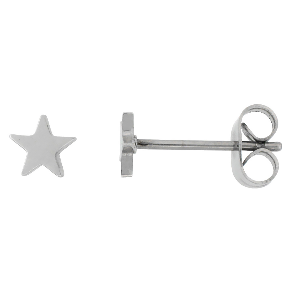 Tiny Stainless Steel Star Stud Earrings, 3/16 inch 5mm