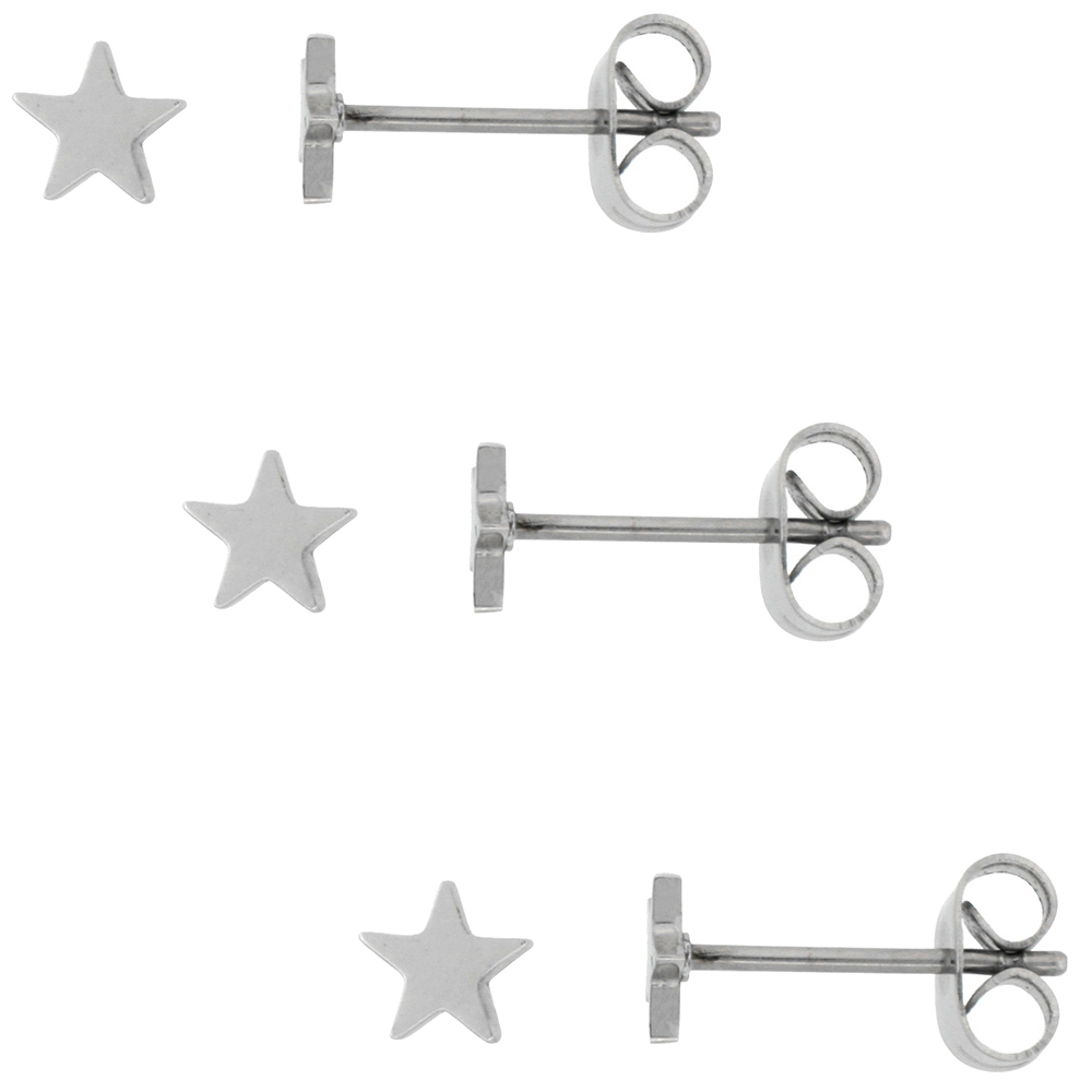 Tiny Stainless Steel Star Stud Earrings 5 and 6 mm