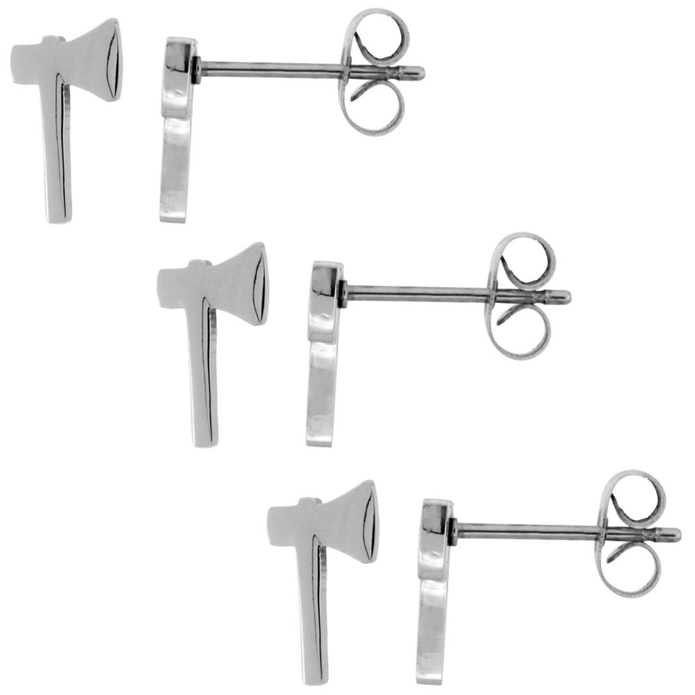 3 PAIR PACK Small Stainless Steel Tomahawk Stud Earrings, 1/2 inch