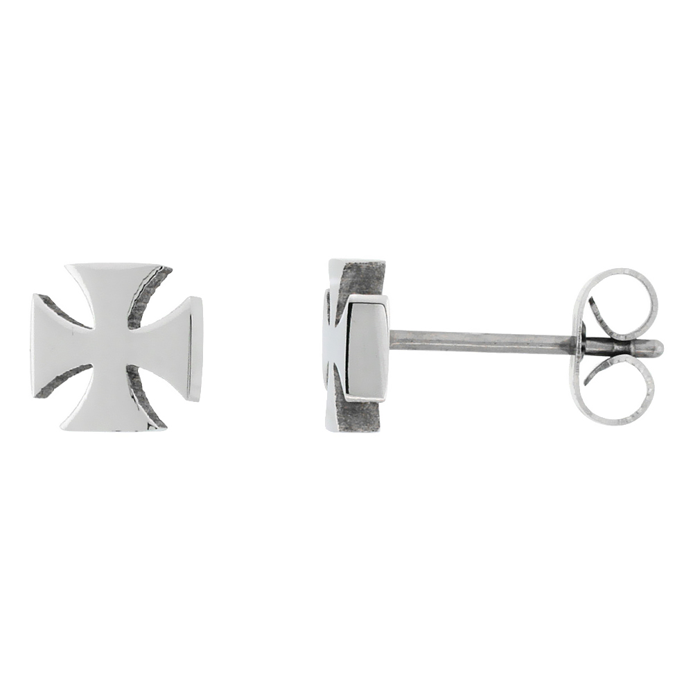 Small Stainless Steel Maltese Cross Stud Earrings, 1/4 inch