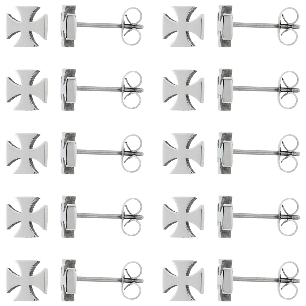 10 PAIR PACK Small Stainless Steel Maltese Cross Stud Earrings, 1/4 inch
