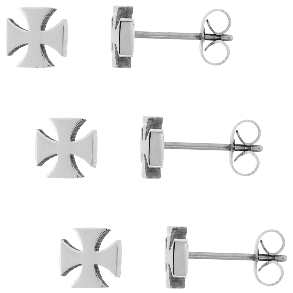 3 PAIR PACK Small Stainless Steel Maltese Cross Stud Earrings, 1/4 inch
