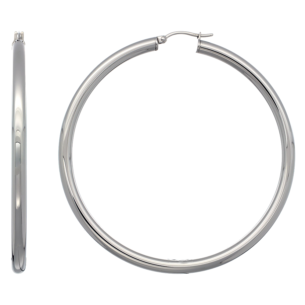 Stainless Steel Hoop Earrings 2 3/4 inch Polished 4mm Tube Plain Light Weight