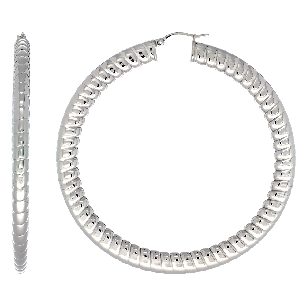 Stainless Steel Hoop Earrings 3 inch 7 mm Fat Flat tube Spiral Pattern Light Weight