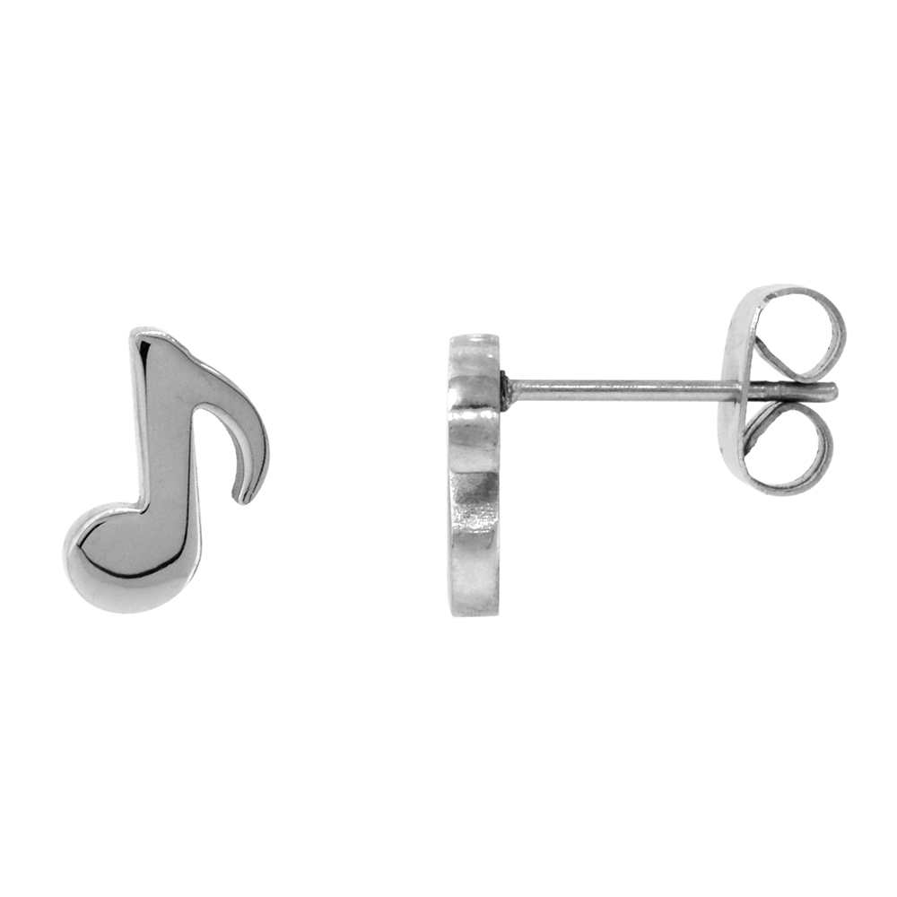 Small Stainless Steel Musical Eighth Note Stud Earrings Quaver Musical Symbol, 3/8 inch