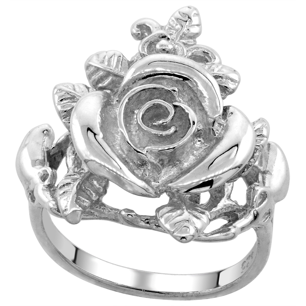 Sterling Silver Rose Flower Ring Polished finish 7/8 inch wide, sizes 6 - 9