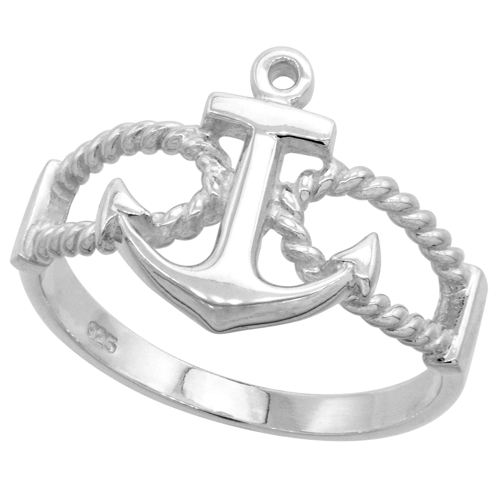 Sterling Silver Anchor Ring 9/16 inch (14 mm) long, sizes 4.5 - 10.5