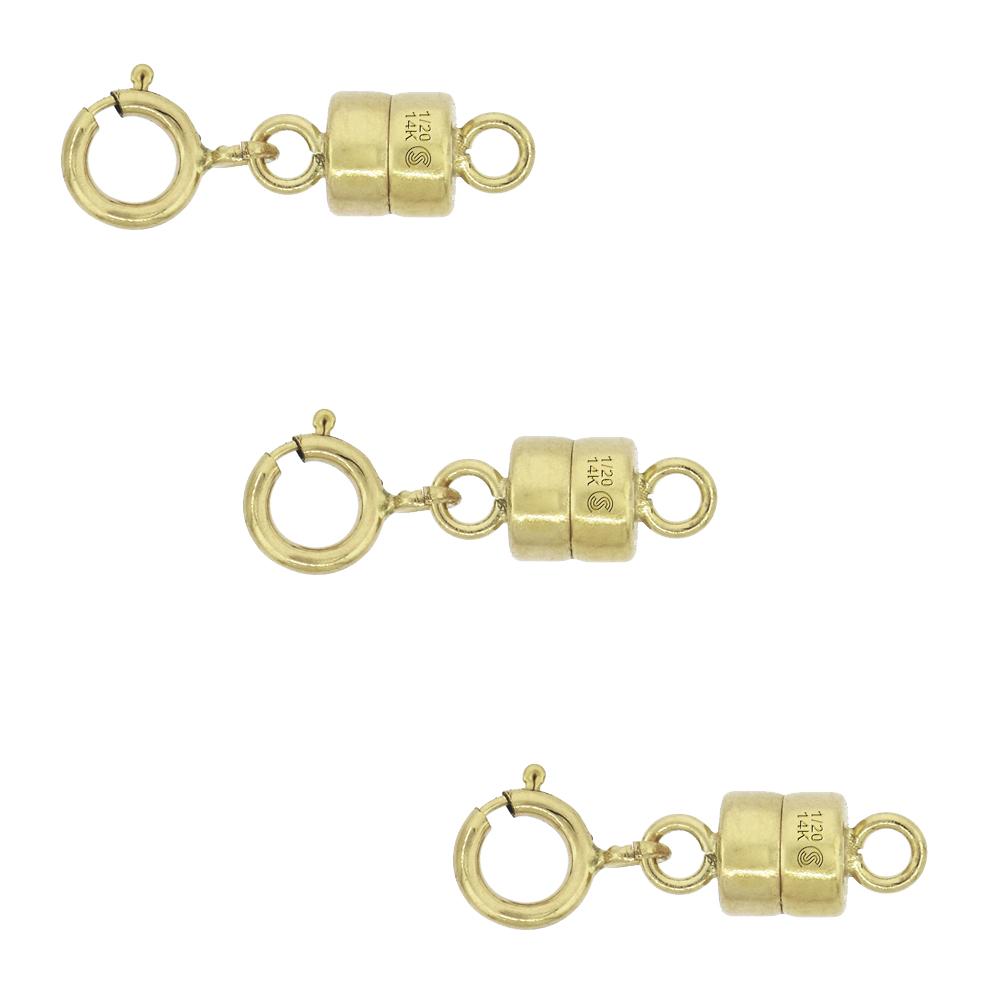 3 PACK 14k Gold-filled 4 mm Magnetic Clasp Converter for Light Necklaces USA Square Edge 5.5mm SpringRing