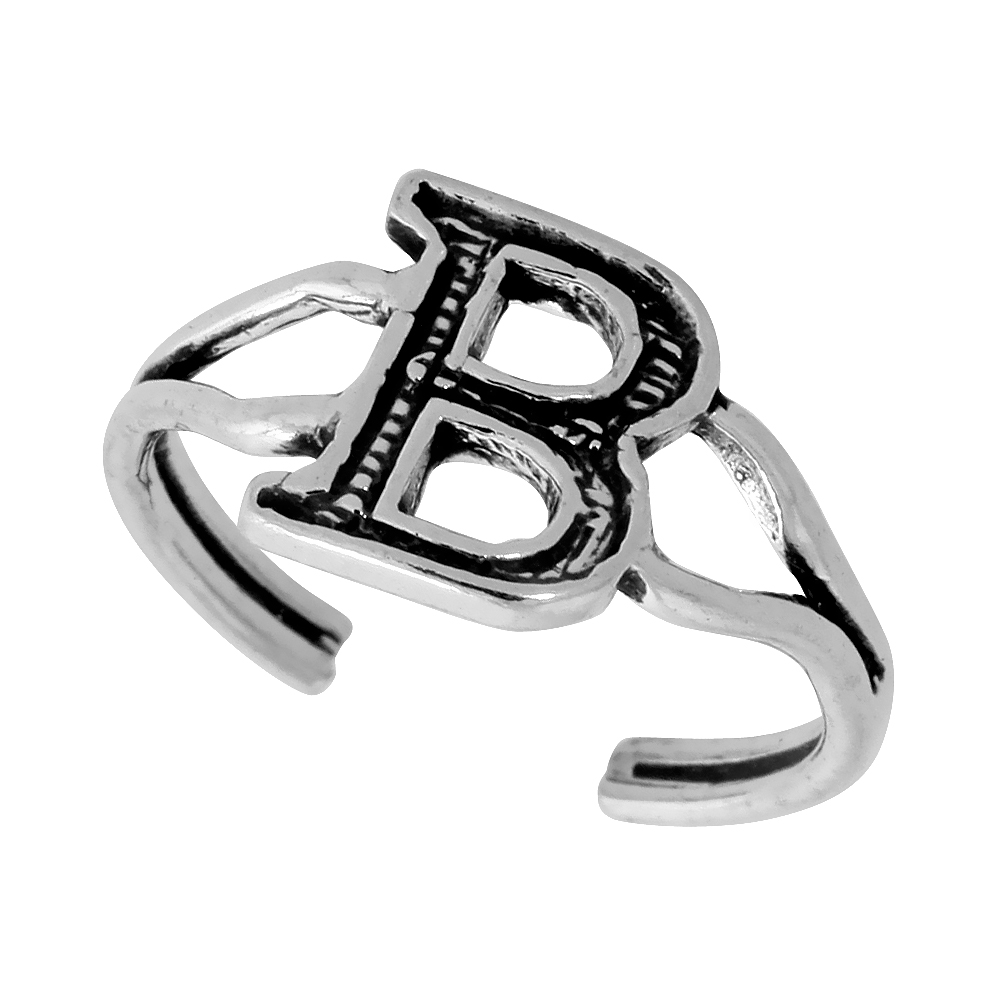 Sterling Silver Initial Letter B Alphabet Toe Ring / Baby Ring Adjustable sizes 2.5 to 5 3/8 inch wide