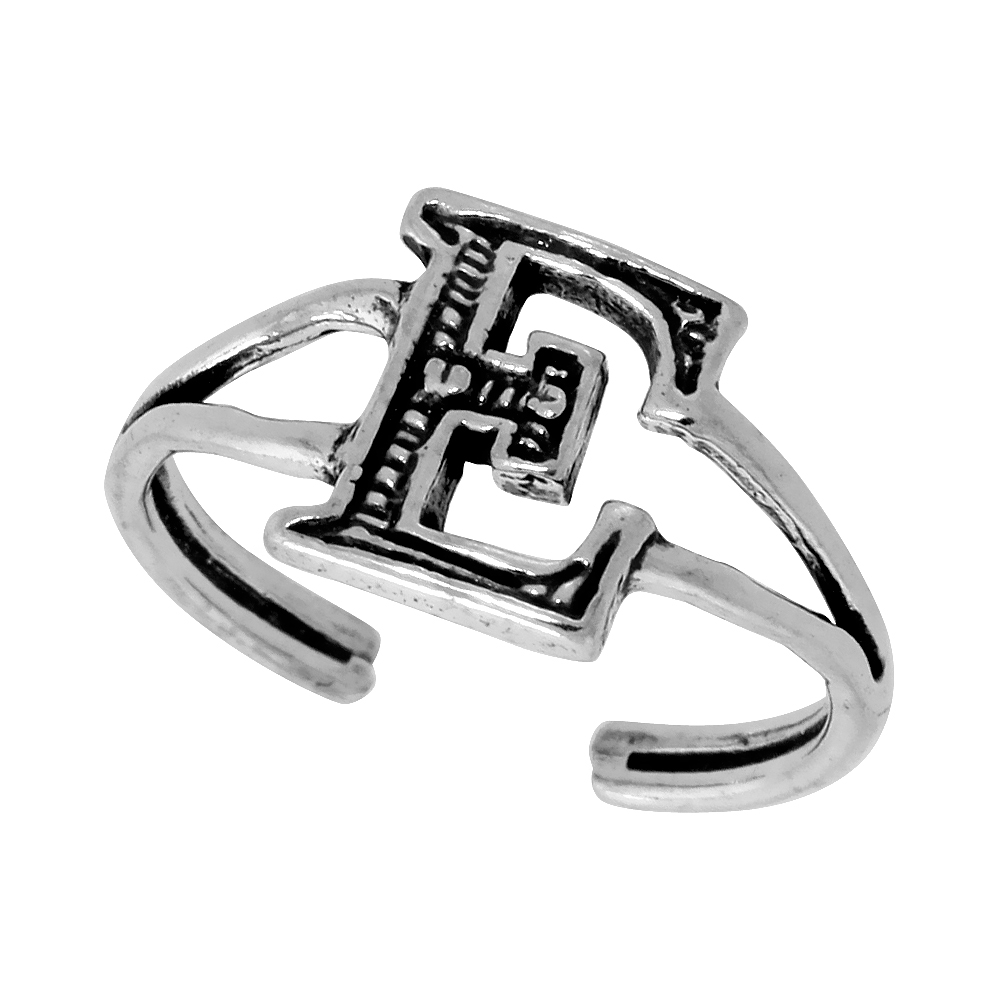Sterling Silver Initial Letter E Alphabet Toe Ring / Baby Ring Adjustable sizes 2.5 to 5 3/8 inch wide