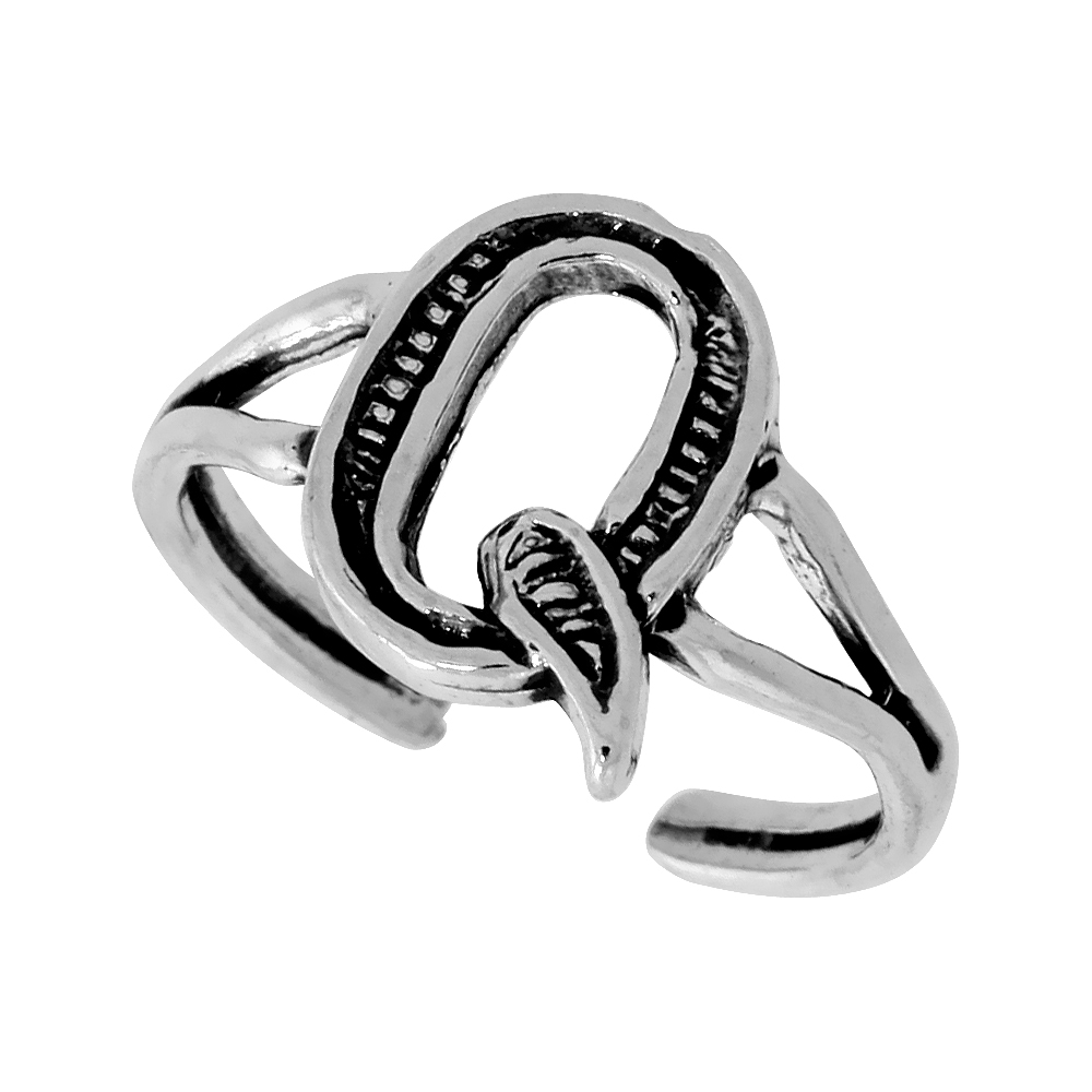 Sterling Silver Initial Letter Q Alphabet Toe Ring / Baby Ring Adjustable sizes 2.5 to 5 3/8 inch wide
