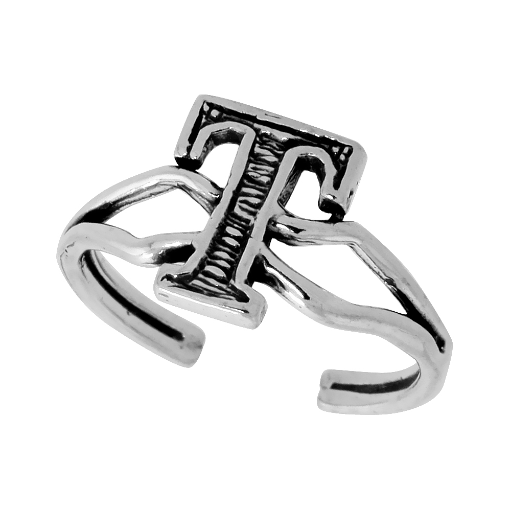 Sterling Silver Initial Letter T Alphabet Toe Ring / Baby Ring Adjustable sizes 2.5 to 5 3/8 inch wide