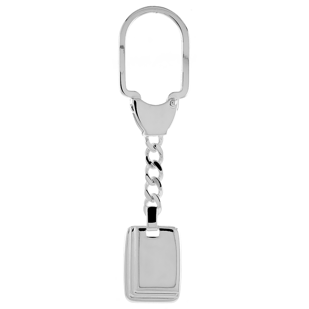 Sterling Silver Monogram Keychain Rectangular Tag Key chain Grooved Edges Italy 3 1/2 inches long