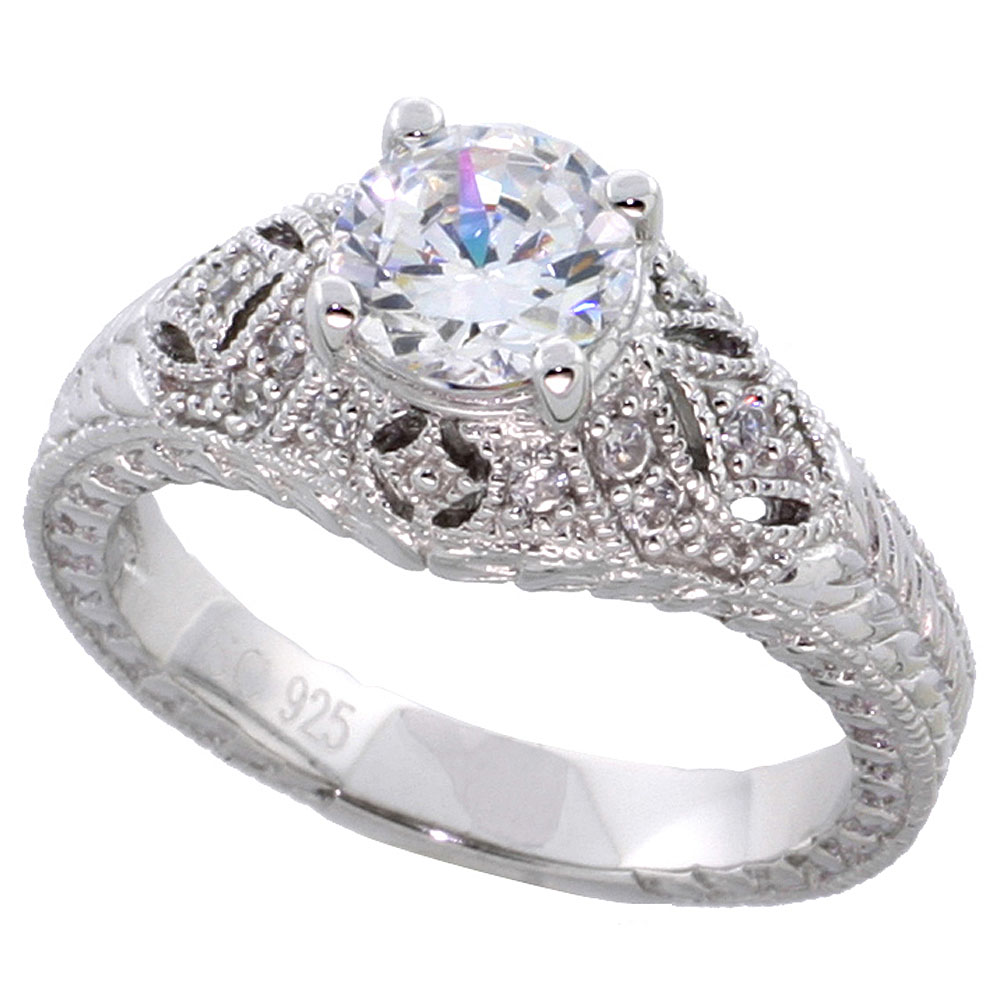 Sterling Silver Vintage Style Cubic Zirconia Engagement Ring Round 1 ct Center Domed, sizes 6-9