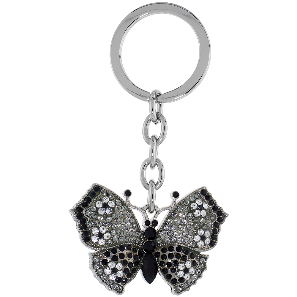 "Large Butterfly Key Chain, Key Ring, Key Holder, Key Tag , Key Fob, w/ Clear & Black Swarovski Crystals, 3-1/2"" tall"