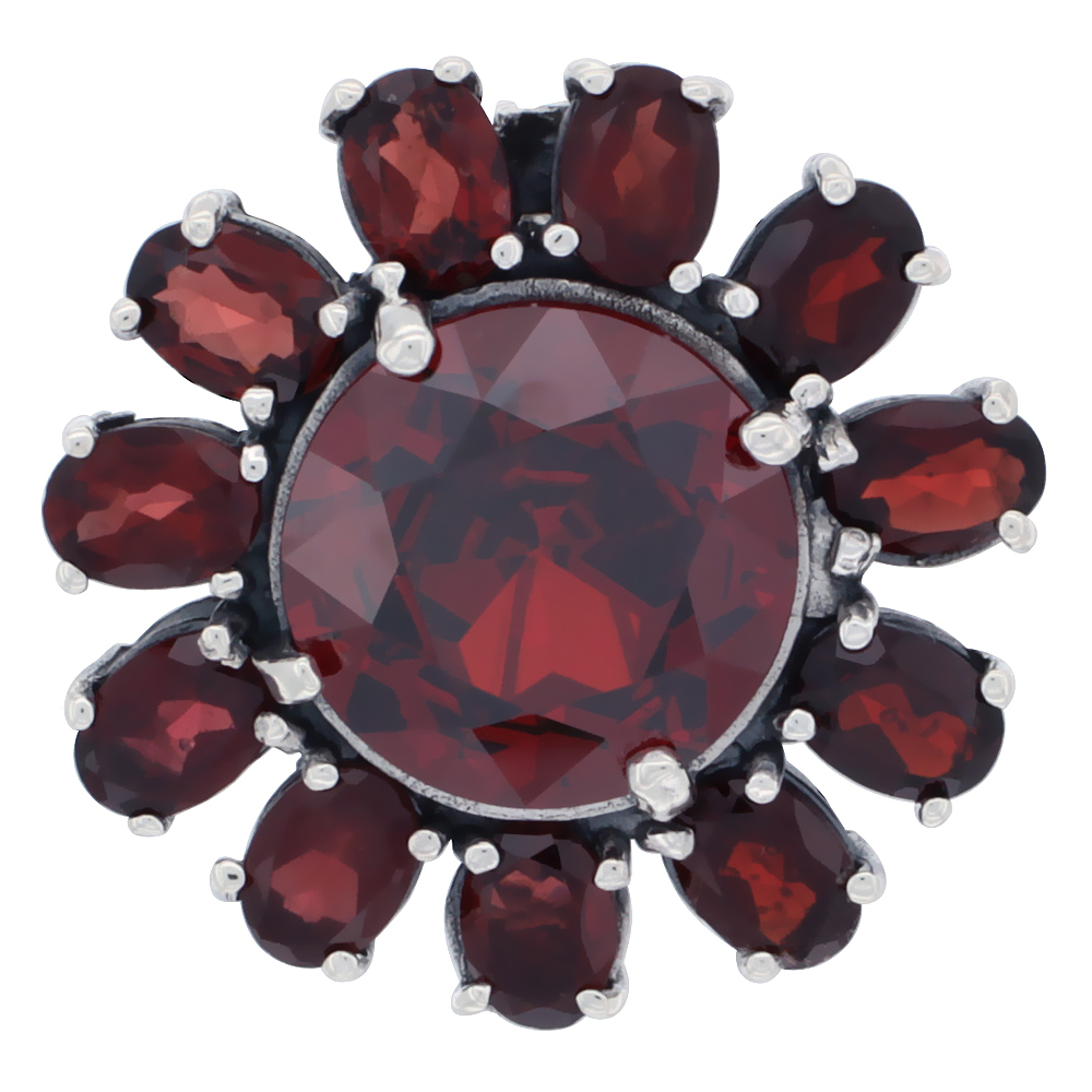 Sterling Silver Marcasite Large Flower Brooch Pin w/ Round Garnet Stones, 1 1/8 inch (29 mm)