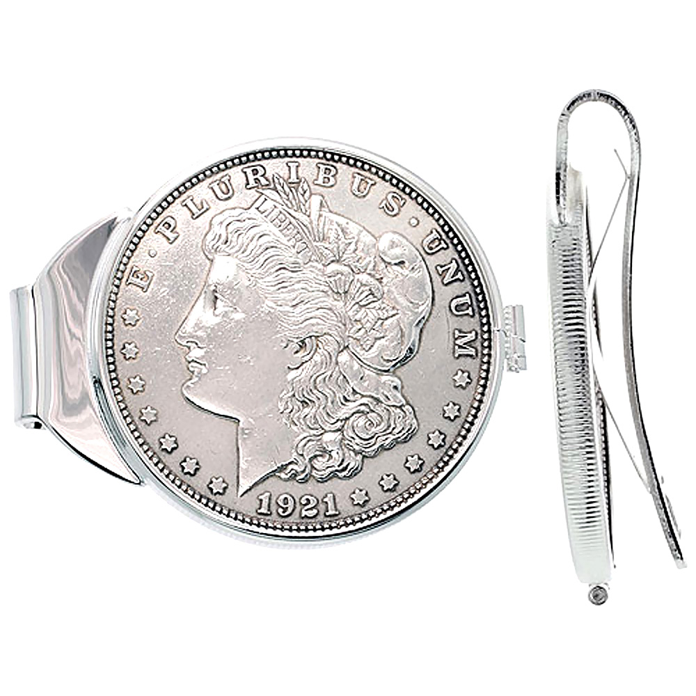Sterling Silver Dollar Money Clip Spring Back with Morgan Dollar Coin 1878-1921