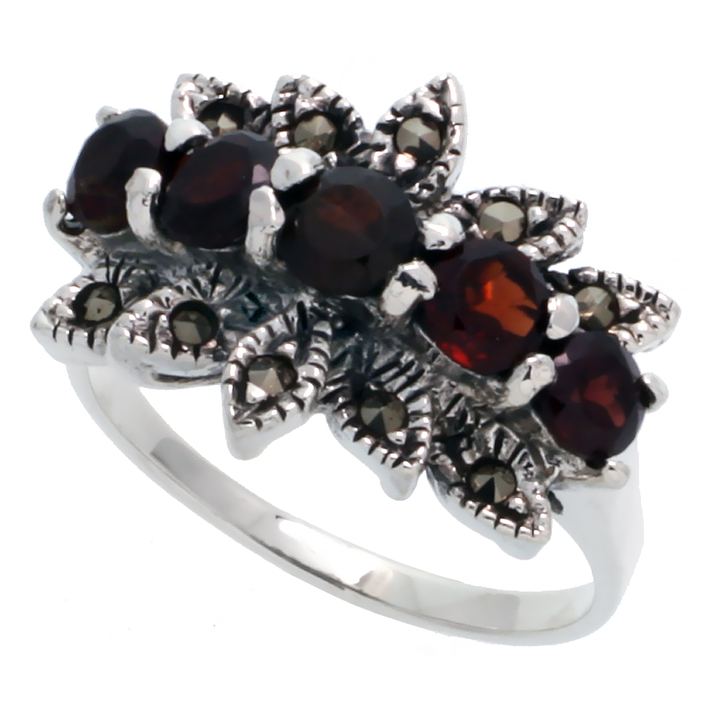 "Sterling Silver Marcasite Floral Ring, w/ Brilliant Cut Natural Garnet, 1/2"" (13 mm) wide"