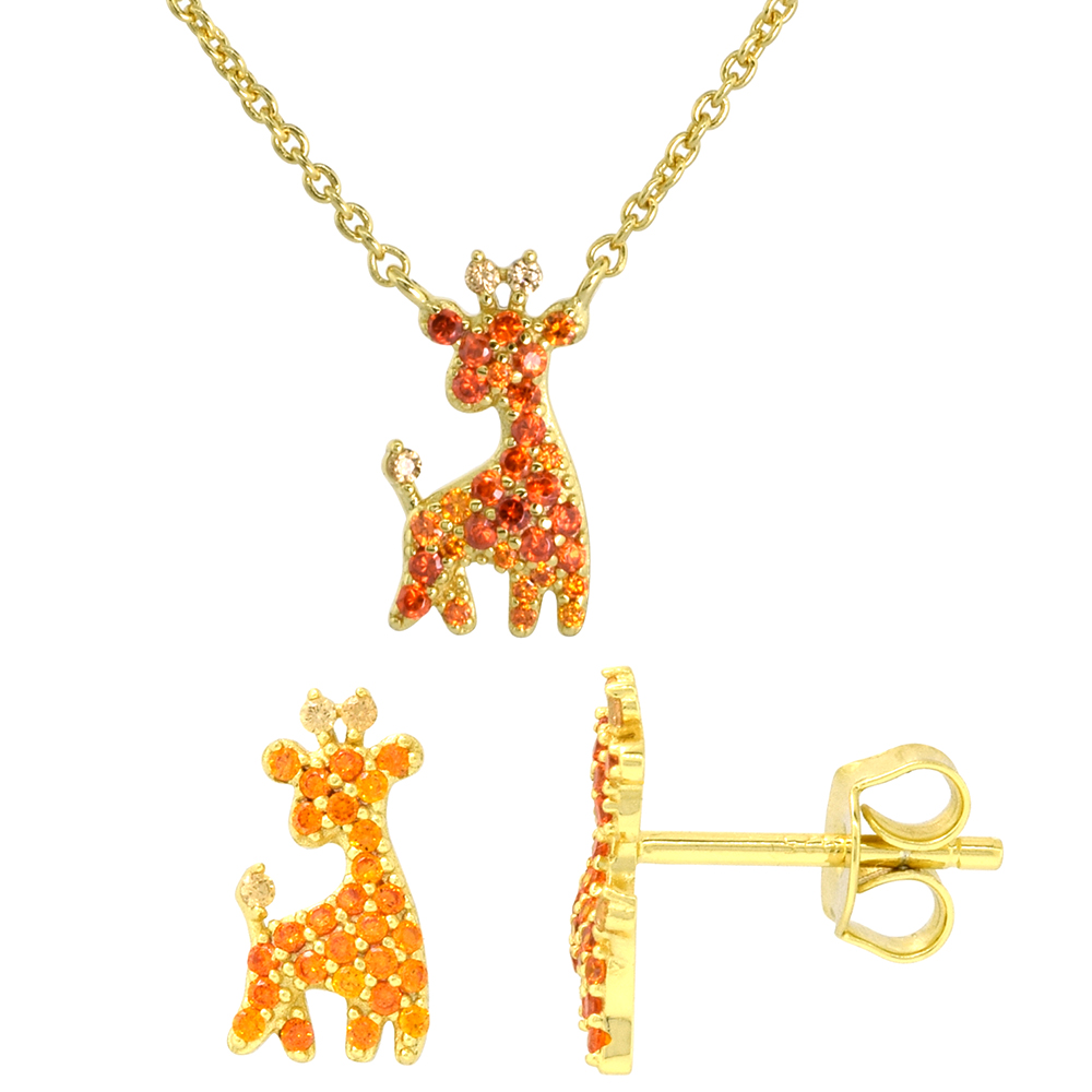 Dainty Sterling Silver Giraffe Earrings Necklace Set Orange CZ Micropave Gold Plated 1/2 inch (14mm) tall