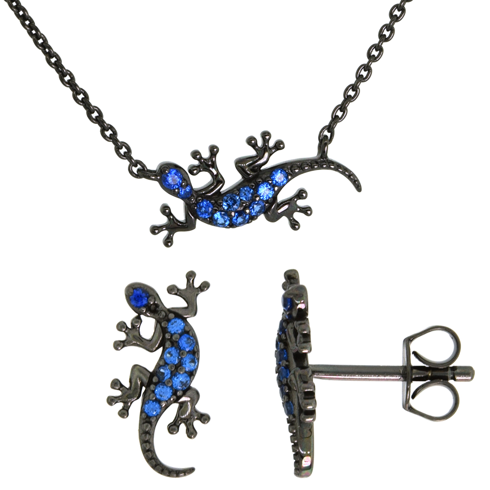 Dainty Sterling Silver Gecko Earrings Necklace Set Blue CZ Micropave Black Rhhodium Plated 3/4 inch (18mm) wide