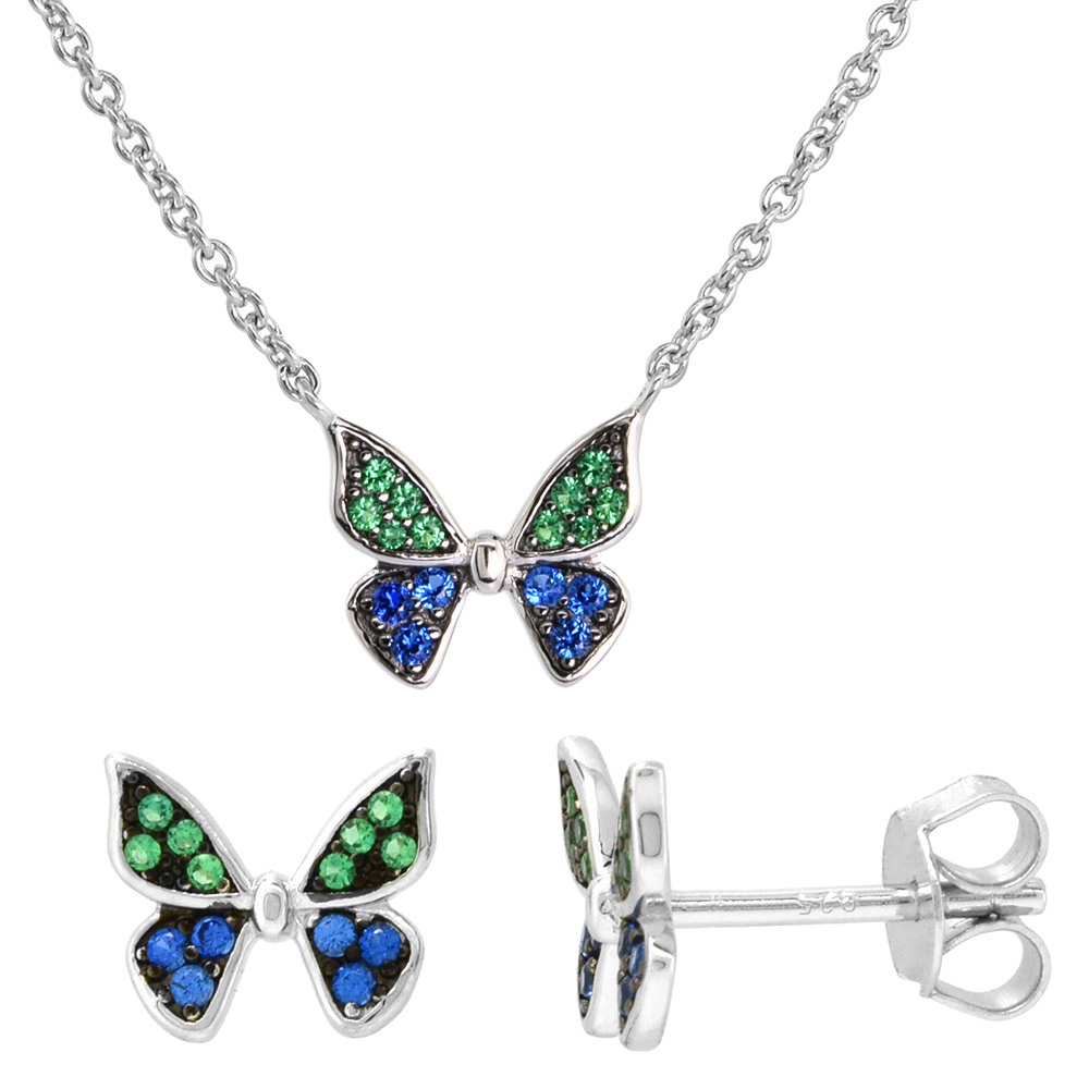 Dainty Sterling Silver Butterfly Earrings Necklace Set Green and Blue CZ Micropave Rhodium Plated 1/2 inch (12mm) wide
