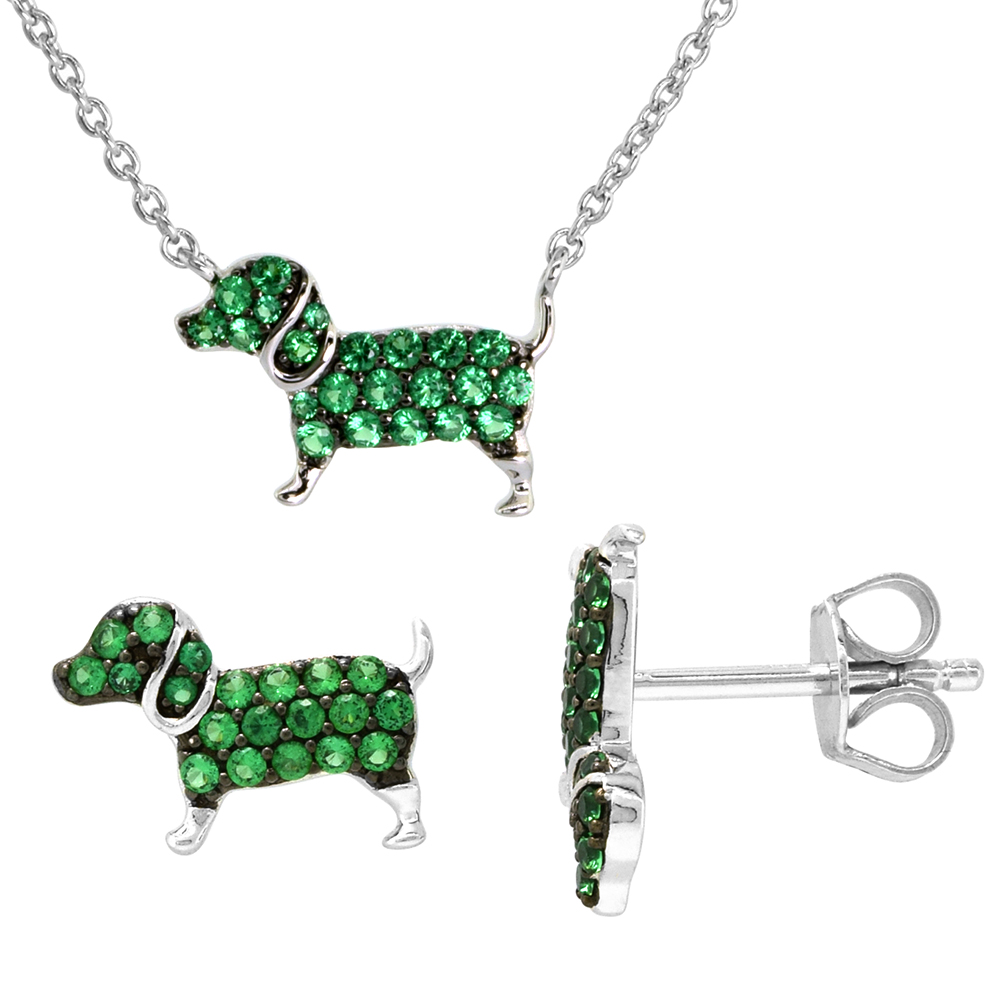 Dainty Sterling Silver Dog Earrings Necklace Set Green CZ Micropave Rhodium Plated 1/2 inch (14mm) wide