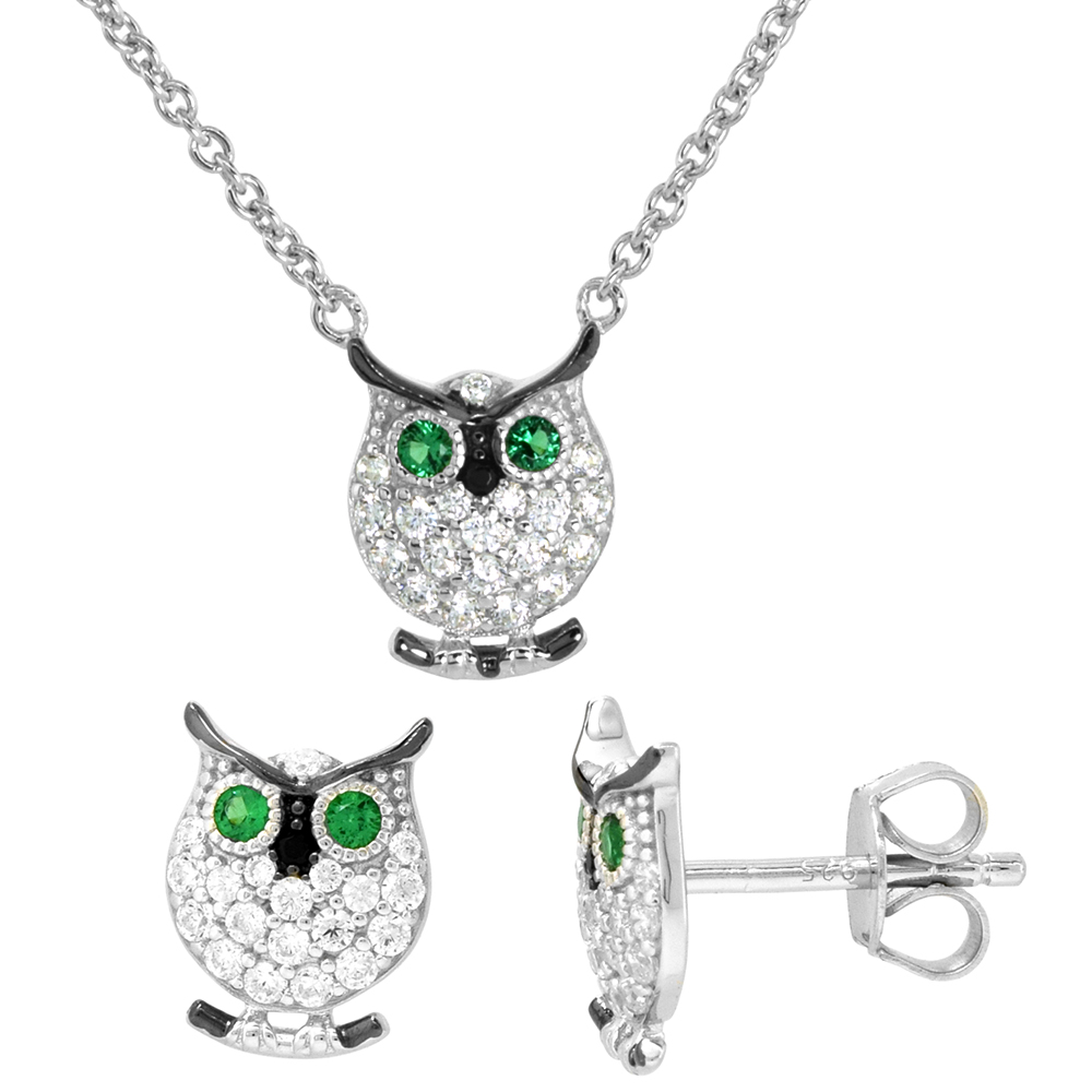 Dainty Sterling Silver Owl Earrings Necklace Set Green and White CZ Micropave Rhodium Plated 3/8 inch (11mm) tall
