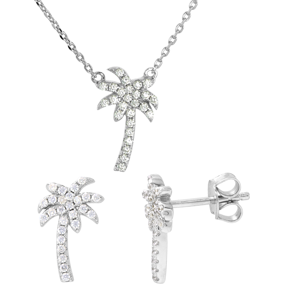 Dainty Sterling Silver Palm Tree Earrings Necklace Set White CZ Micropave Rhodium Plated 1/2 inch (14mm) tall