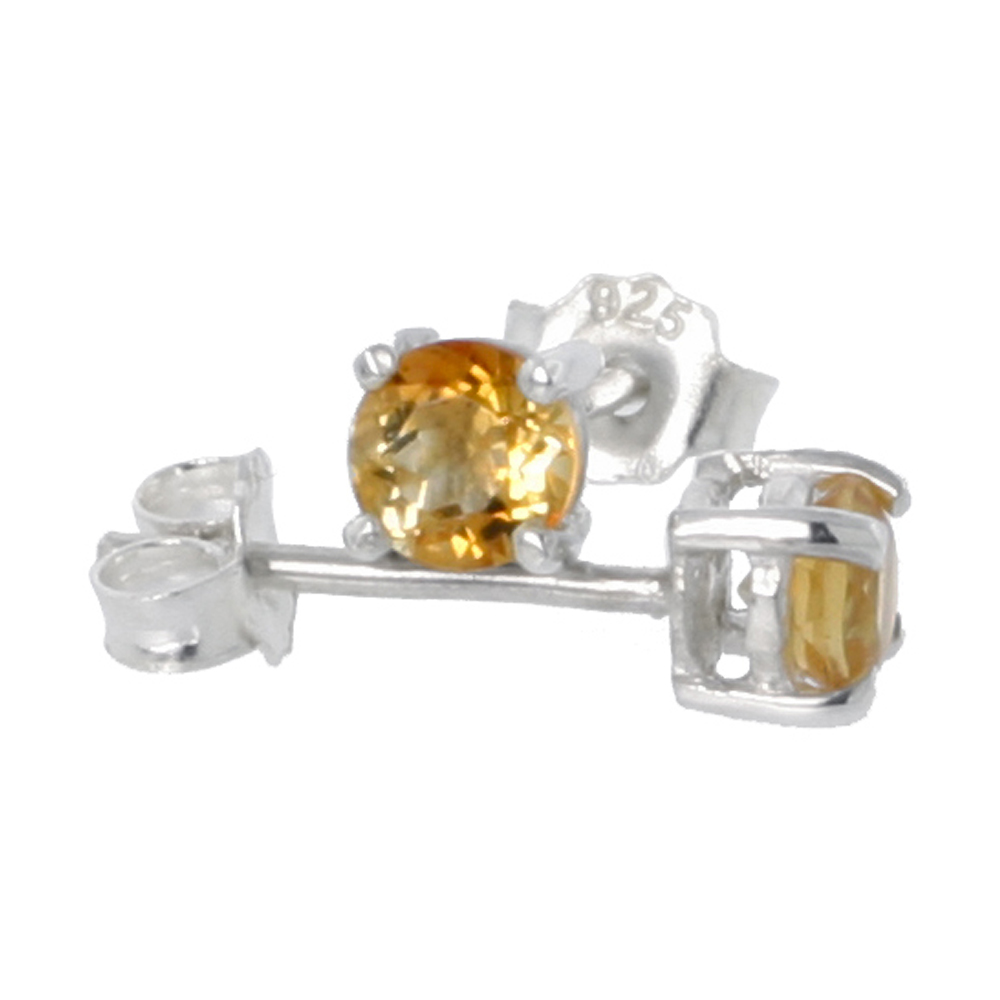 Sterling Silver Natural Citrine Stud Earrings 4mm Round Heavy Basket Setting