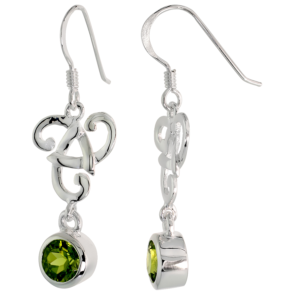 Sterling Silver Genuine Peridot Triquetra Earrings Celtic Trinity Knot, 1 1/2 inch